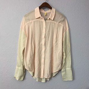 Free People 2 color striped button down shirt sz S